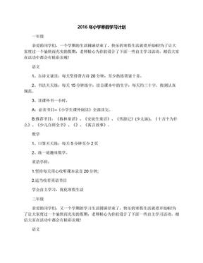 2016年小学寒假学习计划.docx