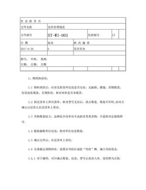 仓库管理规范 ISO9001文件.doc