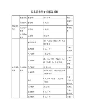 居家养老菜单式服务项目.doc