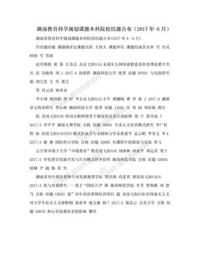 湖南教育科学规划课题本科院校结题公布(2017年-6月).doc