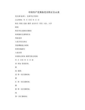 中国共产党预备党员转正公示表.doc