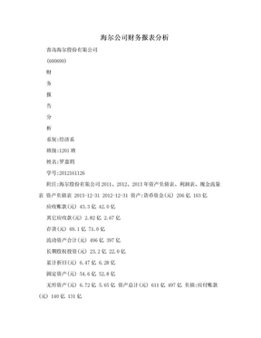 海尔公司财务报表分析.doc