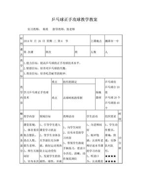 乒乓球正手攻球技术教案.doc