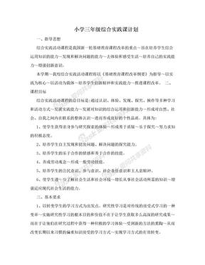 小学三年级综合实践课计划.doc