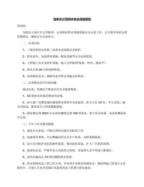 自来水公司供水安全自查报告.docx
