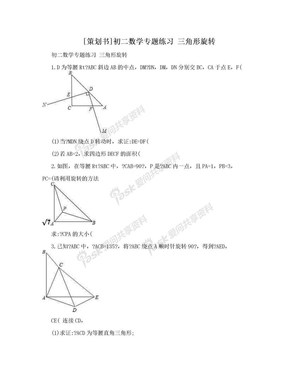 [策划书]初二数学专题练习  三角形旋转.doc