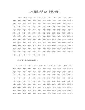 二年级表内乘法口算练习题.doc