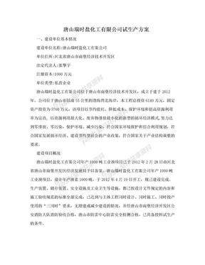 唐山瑞时盐化工有限公司试生产方案.doc