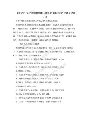 [教学]中铝宁夏能源集团王洼煤业有限公司内控体系建设访谈.doc