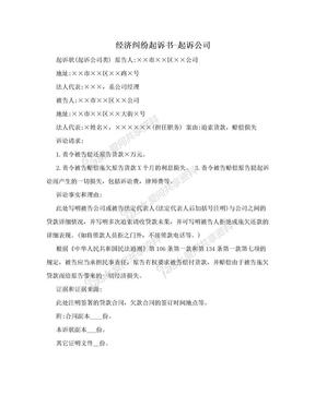 经济纠纷起诉书-起诉公司.doc