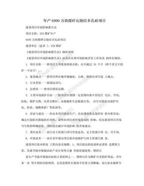 年产6000万块煤矸石烧结多孔砖项目.doc