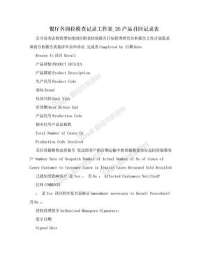 餐厅各岗位检查记录工作表_26产品召回记录表.doc