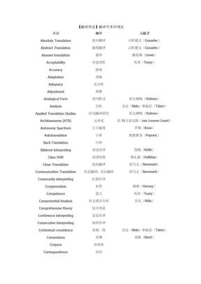 【翻译理论】翻译学术语列表.doc