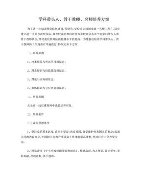 学科带头人骨干教师培养方案.doc