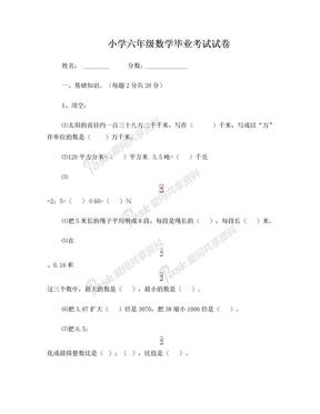 小学六年级数学毕业考试试卷.doc