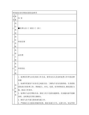 外贸部业务经理岗位职责说明书.doc
