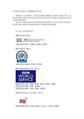 A10汉语国际广播电台频率表