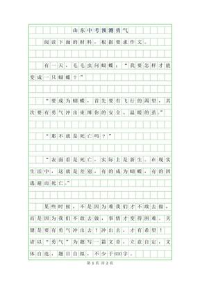 2019年山东中考作文预测-勇气.docx