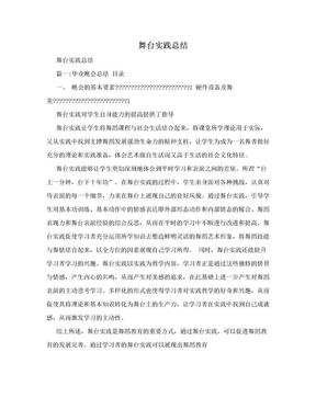 舞台实践总结.doc