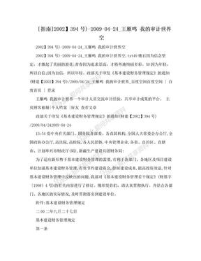 [指南]2002】394号)-2009-04-24_王雁鸣 我的审计世界空.doc