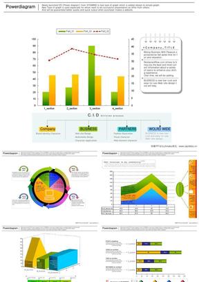 韩国清新设计_ppt图表模板38张-各种柱状图_饼状图_分析图_数据透析.ppt