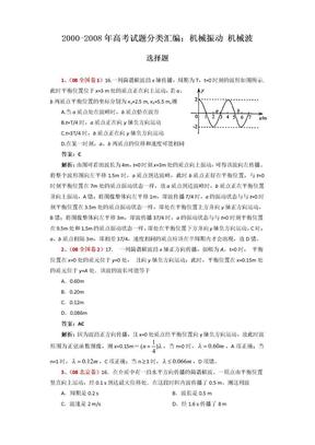 2000年-2008年年高考物理真题分类汇编:机械振动 机械波.doc