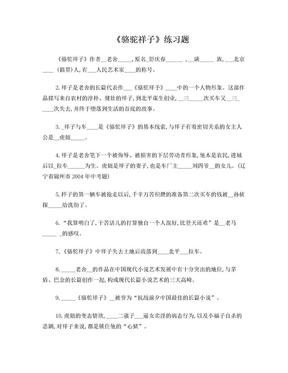 骆驼祥子精析练习题(含答案).doc