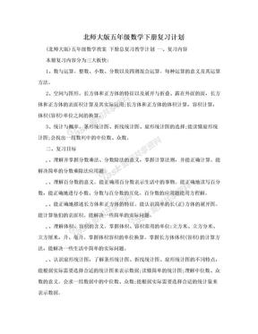 北师大版五年级数学下册复习计划.doc