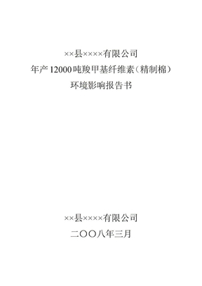 年产12000吨羧甲基纤维素(精制棉)报告书.doc
