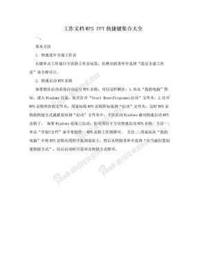 工作文档WPS PPT快捷键集合大全.doc
