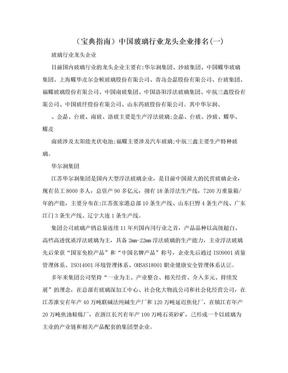 (宝典指南)中国玻璃行业龙头企业排名(一).doc