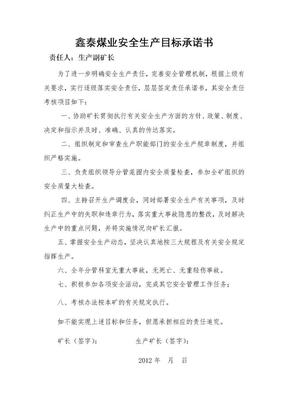 煤矿安全责任承诺书分管矿长责任书1.doc