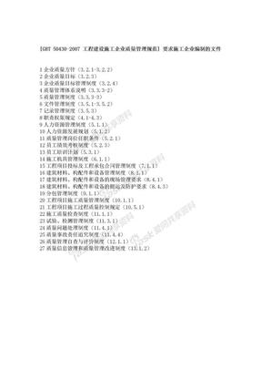 [GBT 50430-2007 工程建设施工企业质量管理规范] 要求施工企业编制的文件 100829.doc
