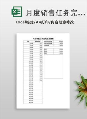 月度销售任务完成进度分析.xlsx