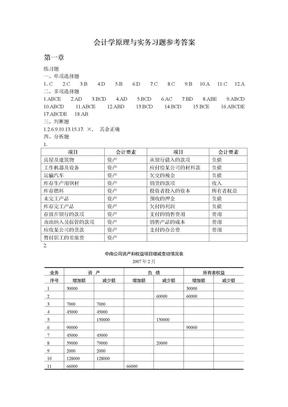会计学原理与实务-周慧滨-习题答案.doc
