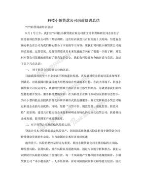 科技小额贷款公司岗前培训总结.doc