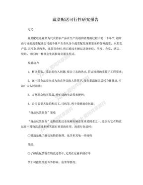 蔬菜配送可行性研究报告.doc