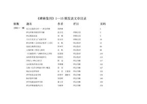 《碑林集刊》1-15辑目录(发于汉唐网).doc