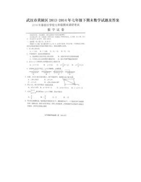 武汉市黄陂区2013-2014年七年级下期末数学试题及答案.doc