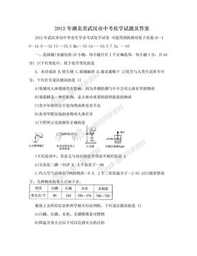 2012年湖北省武汉市中考化学试题及答案.doc