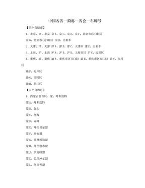 中国各省—简称—省会—车牌号.doc