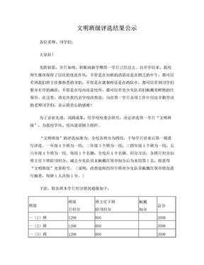 文明班级评选结果公示(1).doc