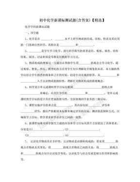 初中化学新课标测试题(含答案)【精选】.doc