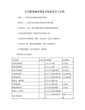 公司晚宴活动筹备小组分工安排.doc