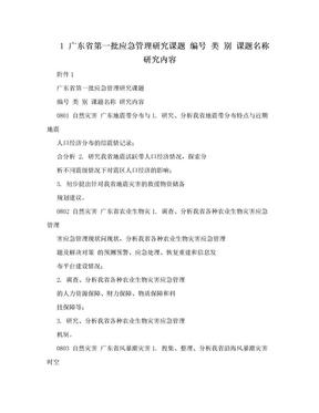 1 广东省第一批应急管理研究课题 编号 类 别 课题名称 研究内容.doc