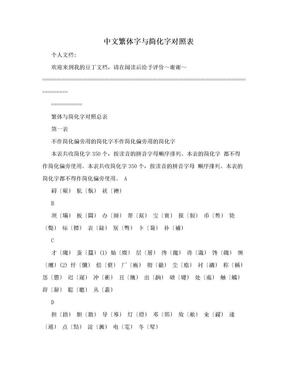 中文繁体字与简化字对照表.doc