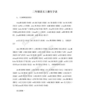 二年级语文上册生字表.doc