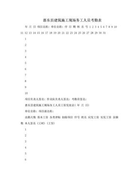 惠东县建筑施工现场务工人员考勤表.doc