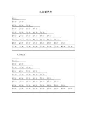打印版Word九九乘法表.doc