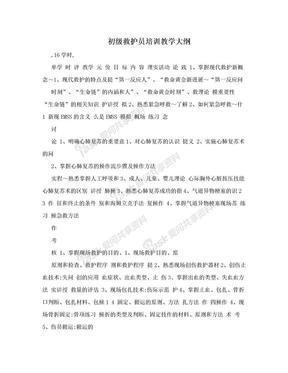 初级救护员培训教学大纲.doc